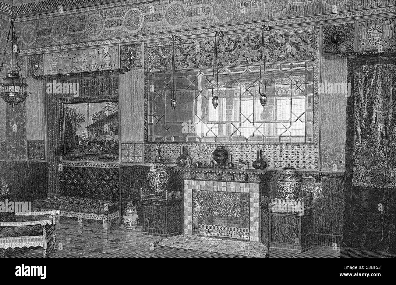 Parlour decoration by Louis C Tiffany and Co.         Date: 1884 - Stock Image