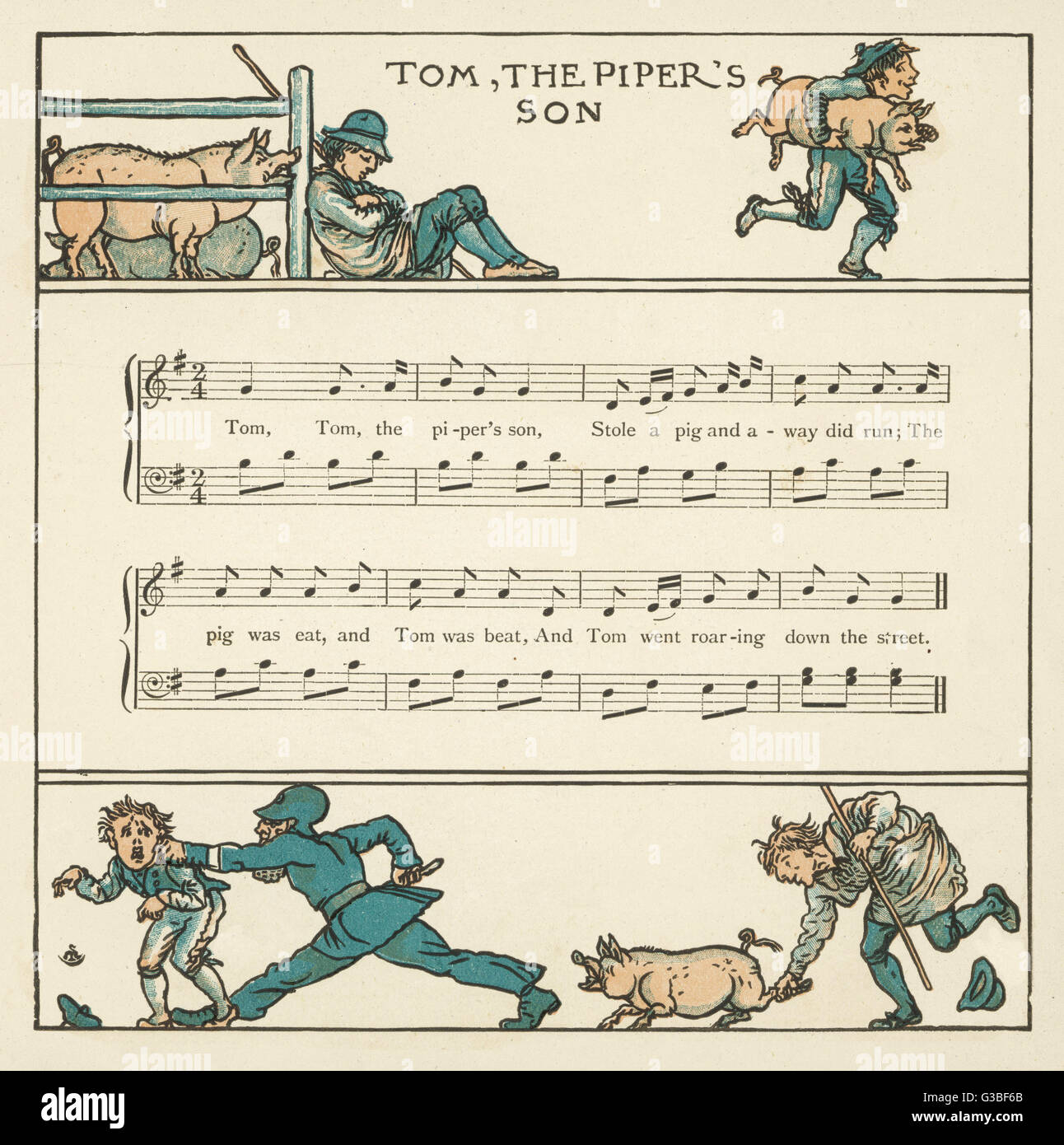 'Tom, Tom, the piper's son, Stole a pig and away he ran. The pig was eat, and Tom was beat, and Tom went - Stock Image