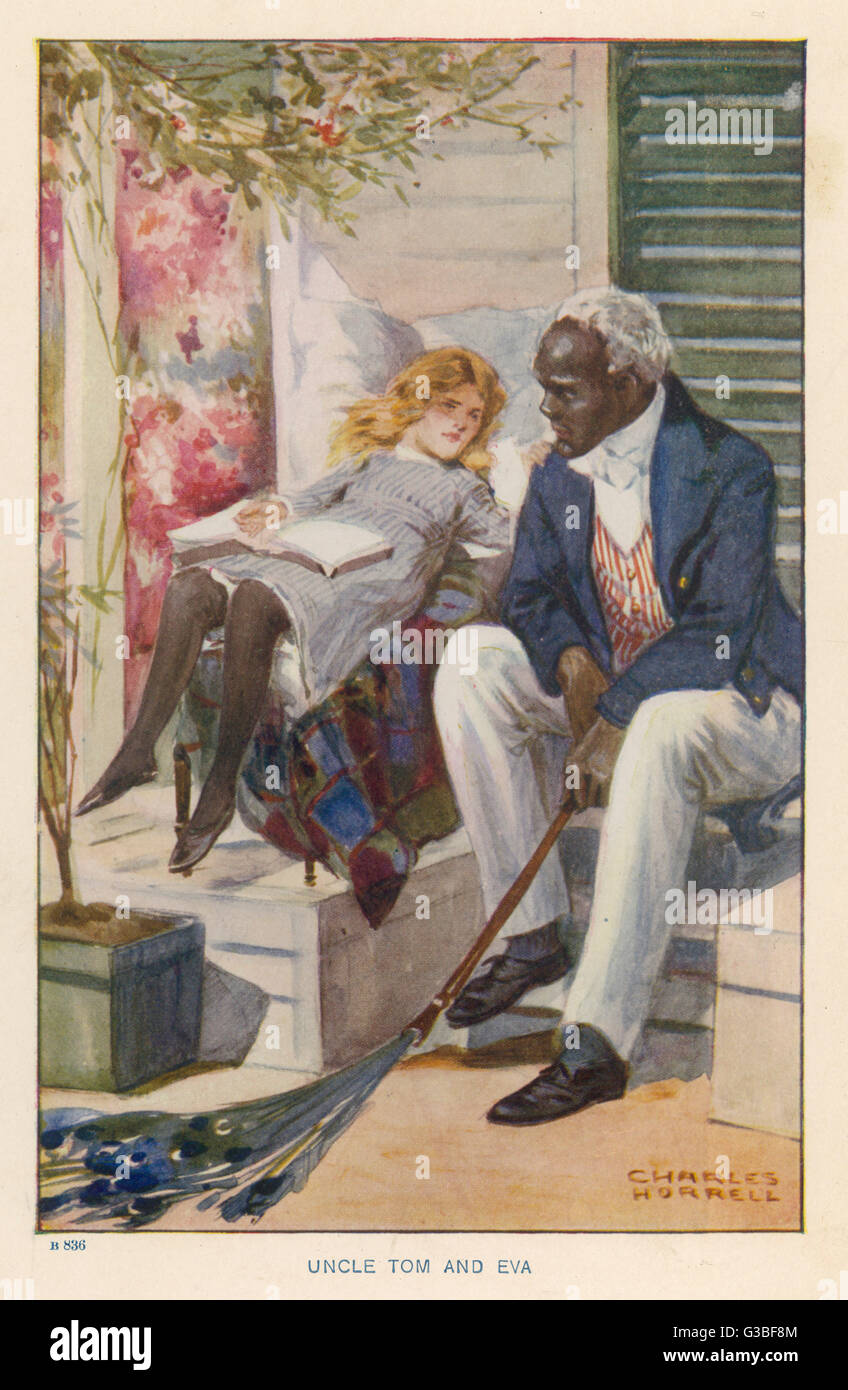 Uncle Tom & Eva.          Date: First published: 1852 - Stock Image