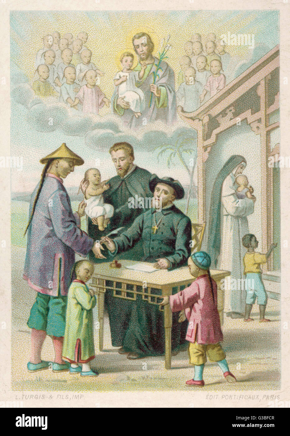 French missionaries in China  take care of neglected and  abandoned children.       Date: late 19th century - Stock Image