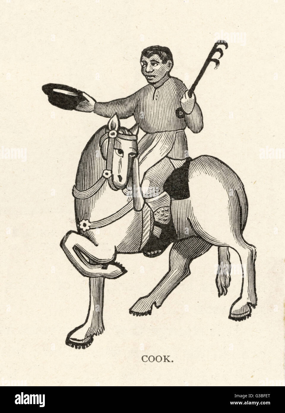 The Cook on a frisky horse,  gestures with his hat        Date: First published: circa 1387 - Stock Image