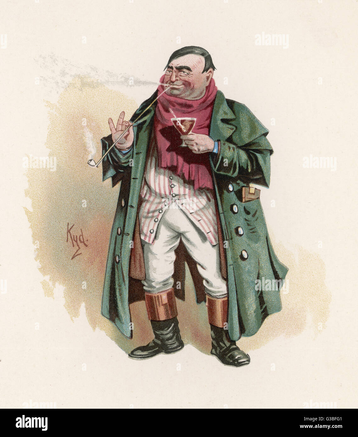 Mr Tony Weller (Senior) - the  father of Sam Weller, Mr  Pickwick's servant.  He wears  a green coat and a red - Stock Image