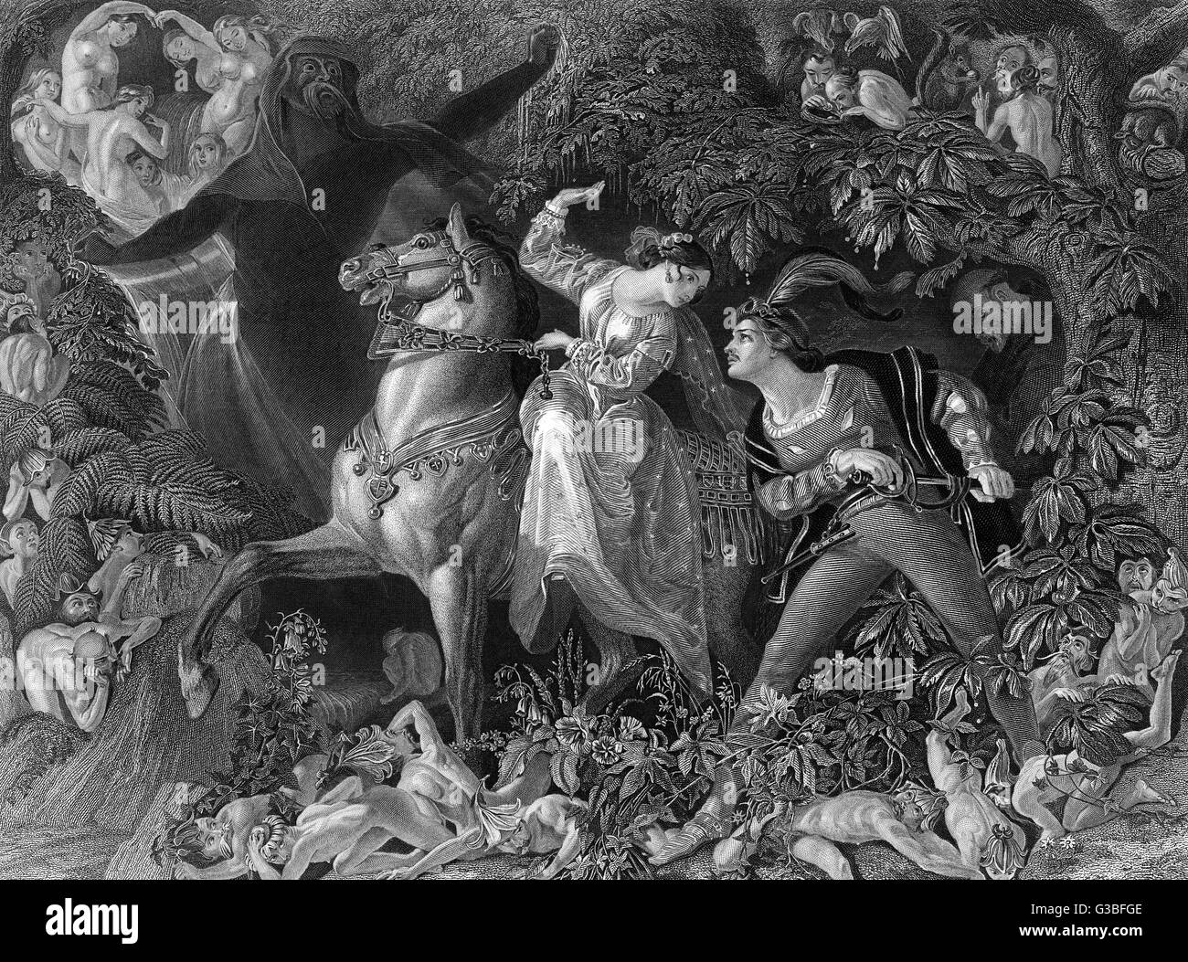 UNDINE  Undine, the water sprite, on  horseback in the forest with  her knight.      Date: First published: 1811 - Stock Image