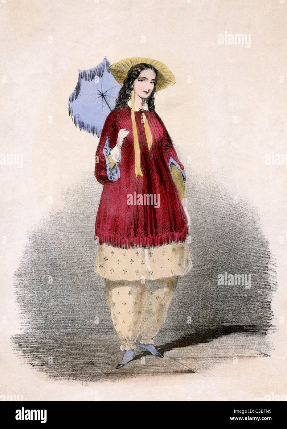 Arabella Bloomer holds a  fringed parasol in order to  retain her lady like  complexion.       Date: 1850s - Stock Image