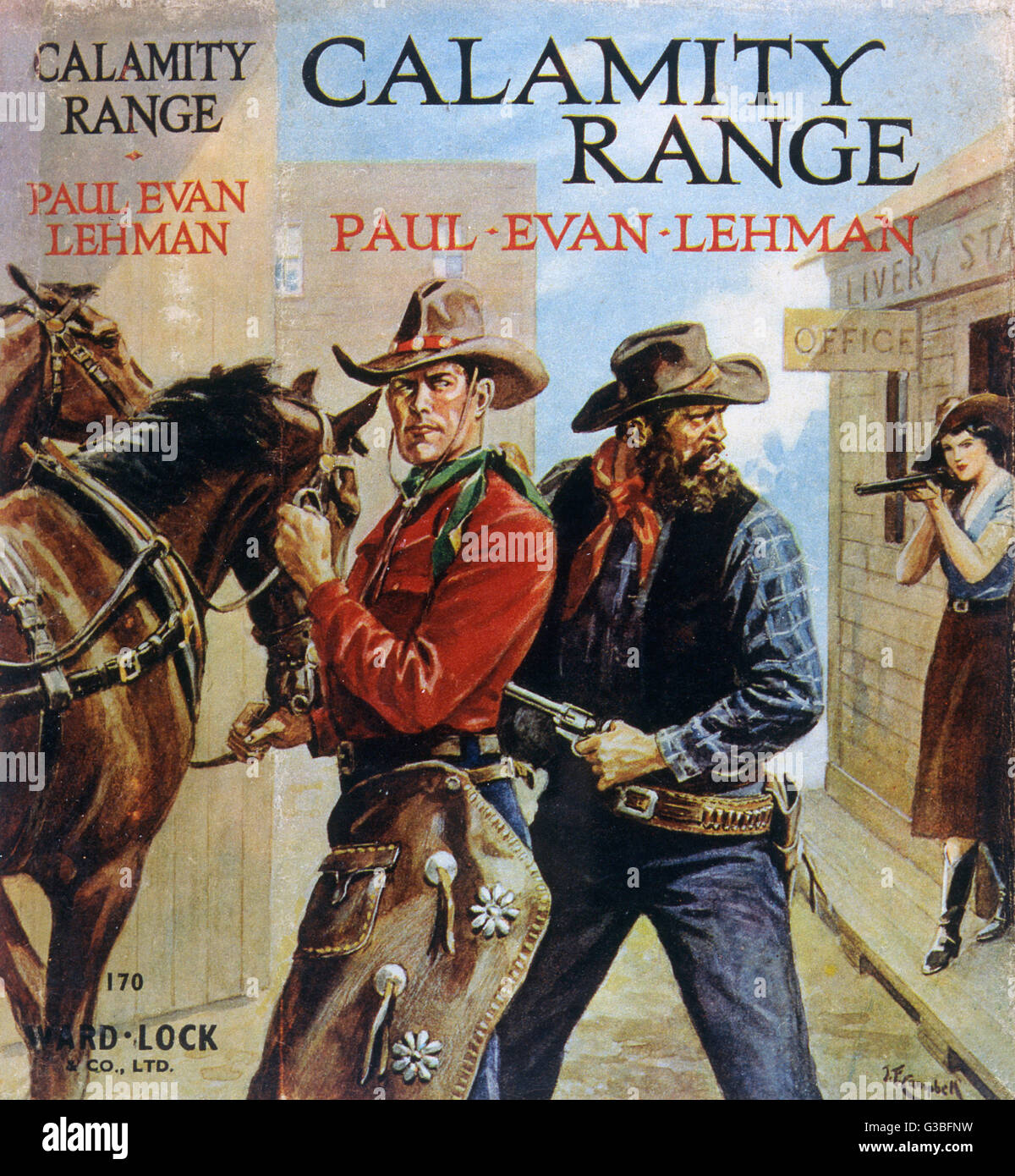 'CALAMITY RANGE' (Paul Evan Lehmann) The hero, with the bad guy's  gun in his back, is rescued by  the - Stock Image