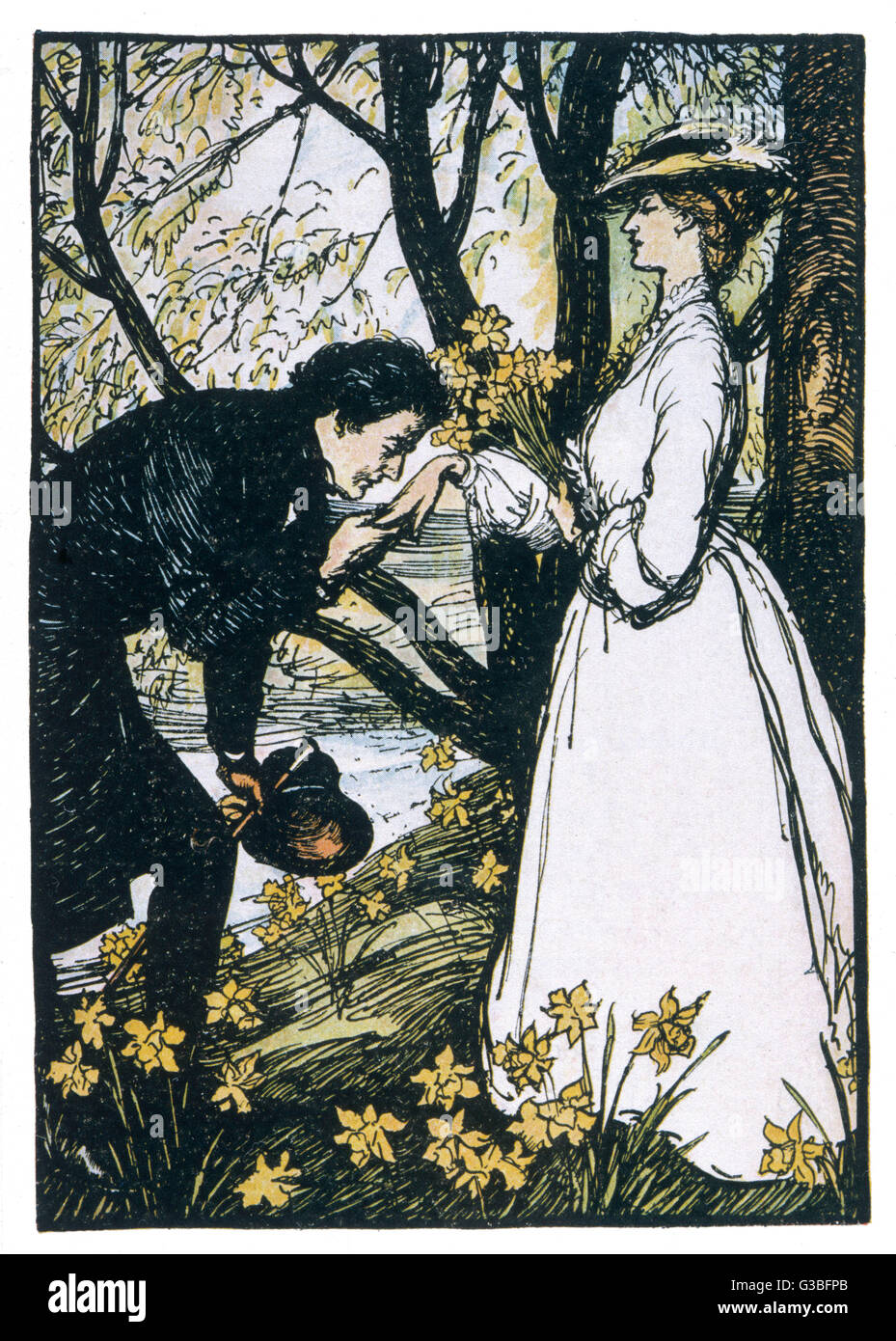 He kisses her hand (note that  she is sixteen years old).        Date: First published: 1855 - Stock Image