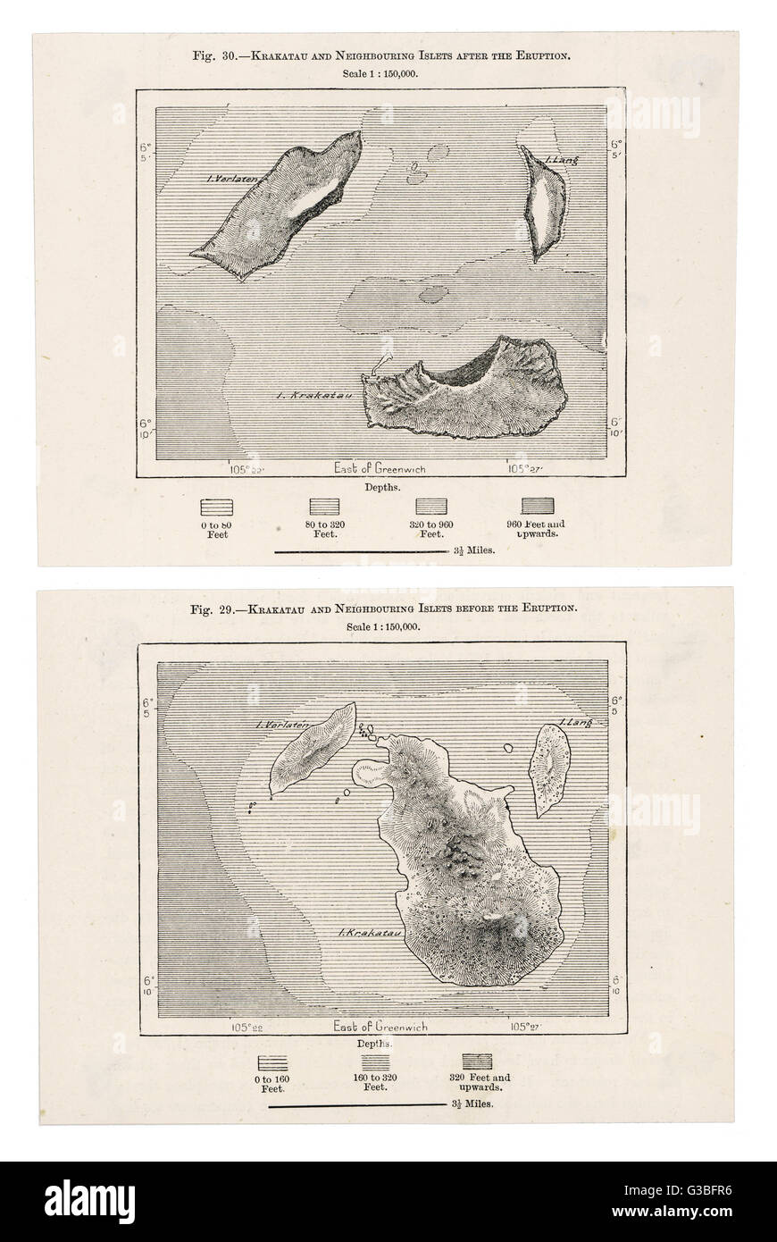 Krakatau and neighbouring  islets before and after the  eruption.        Date: 19th century - Stock Image