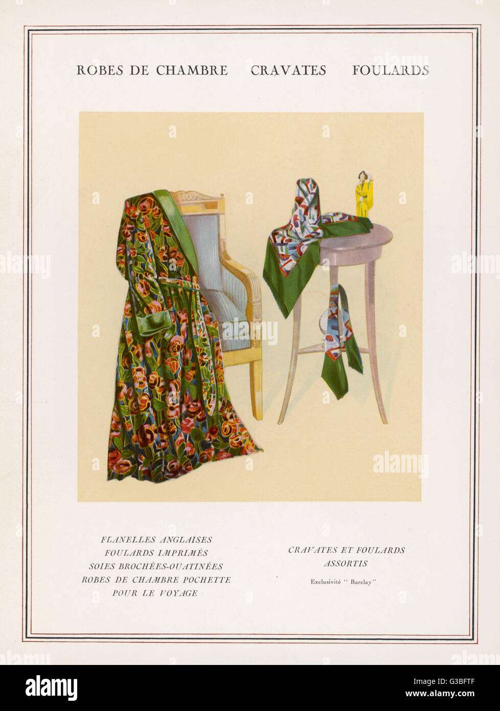 A brightly coloured dressing  gown in a stylized floral  print with green roll collar &  cuffs; geometric - Stock Image