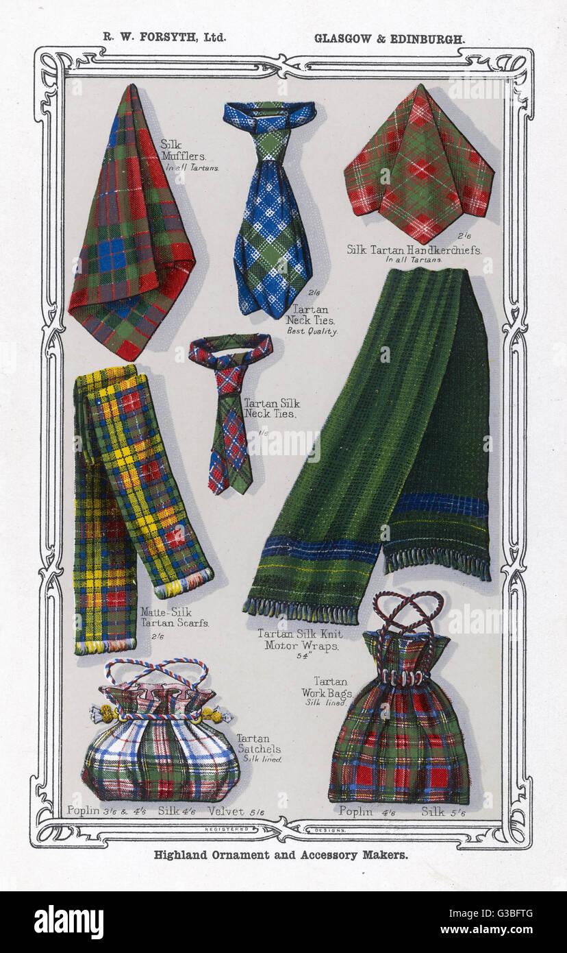 Tartan Accessories Including Silk Handkerchiefs Mufflers Neck