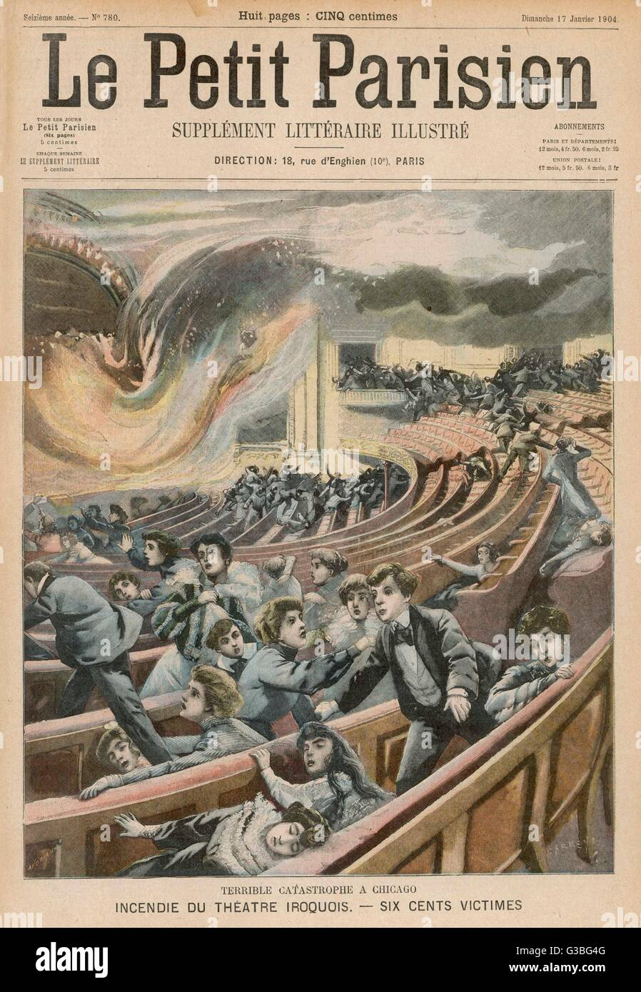 600 people die when the  Iroquois Theatre, Chicago,  burns        Date: 1904 - Stock Image