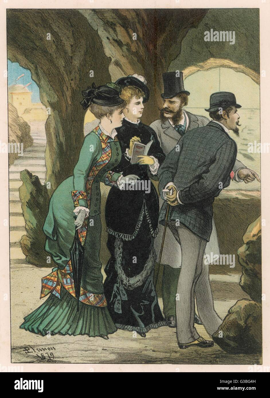 Two elegant couples visit an  aquarium.        Date: 1879 Stock Photo