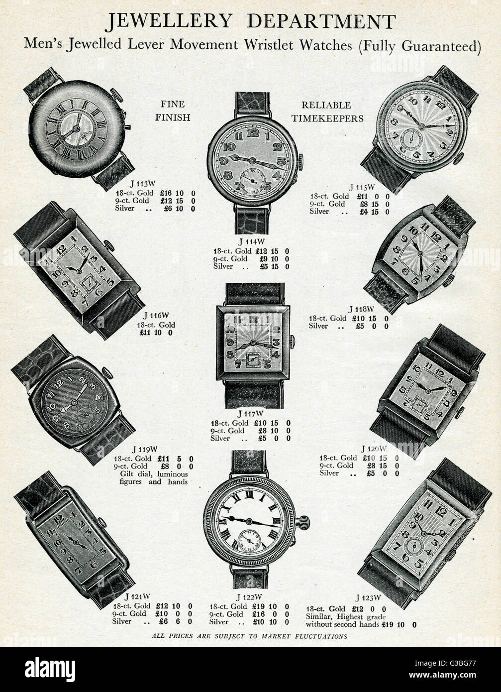 Gold men's lever wristwatches with circular and rectangle faces, products for Harrod's catalogue jewellery - Stock Image