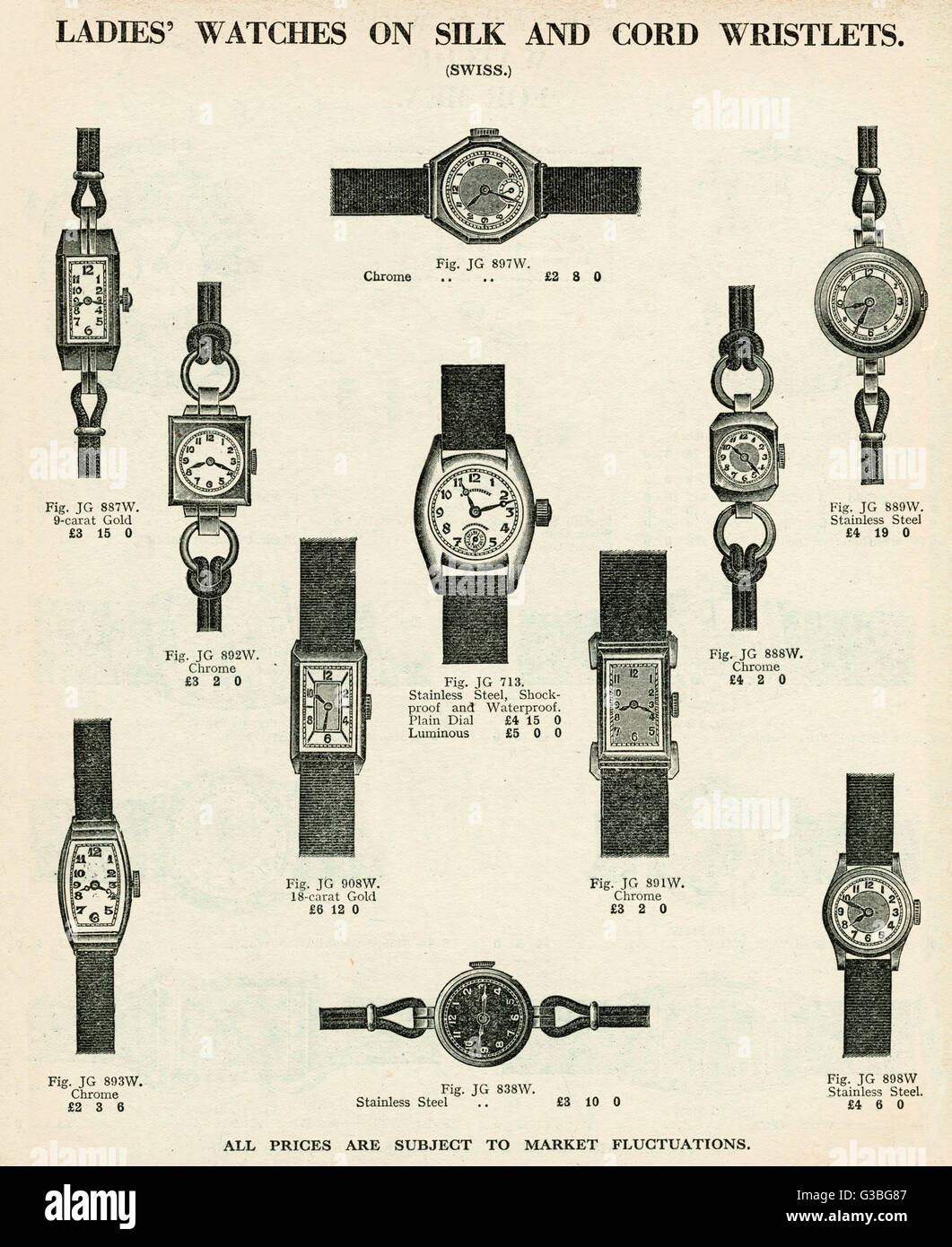 A selection of women's wristwatches with silk and cord straps.  Products for Army & Navy catalogue. - Stock Image
