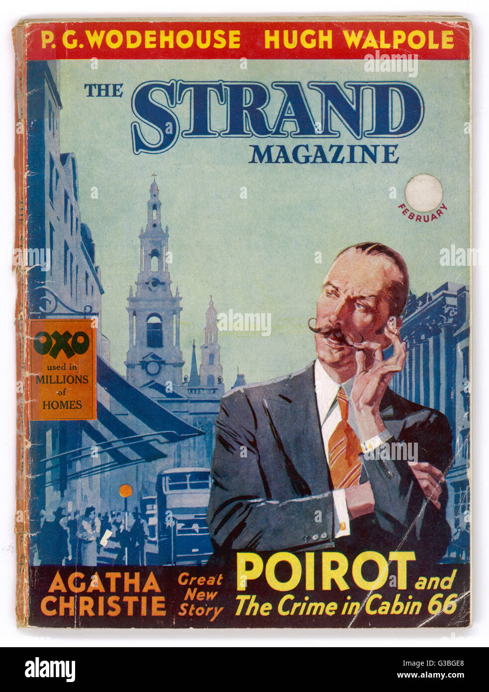 Belgian detective Hercule  Poirot, featured on the cover  of the Strand magazine containing  Christie's story - Stock Image