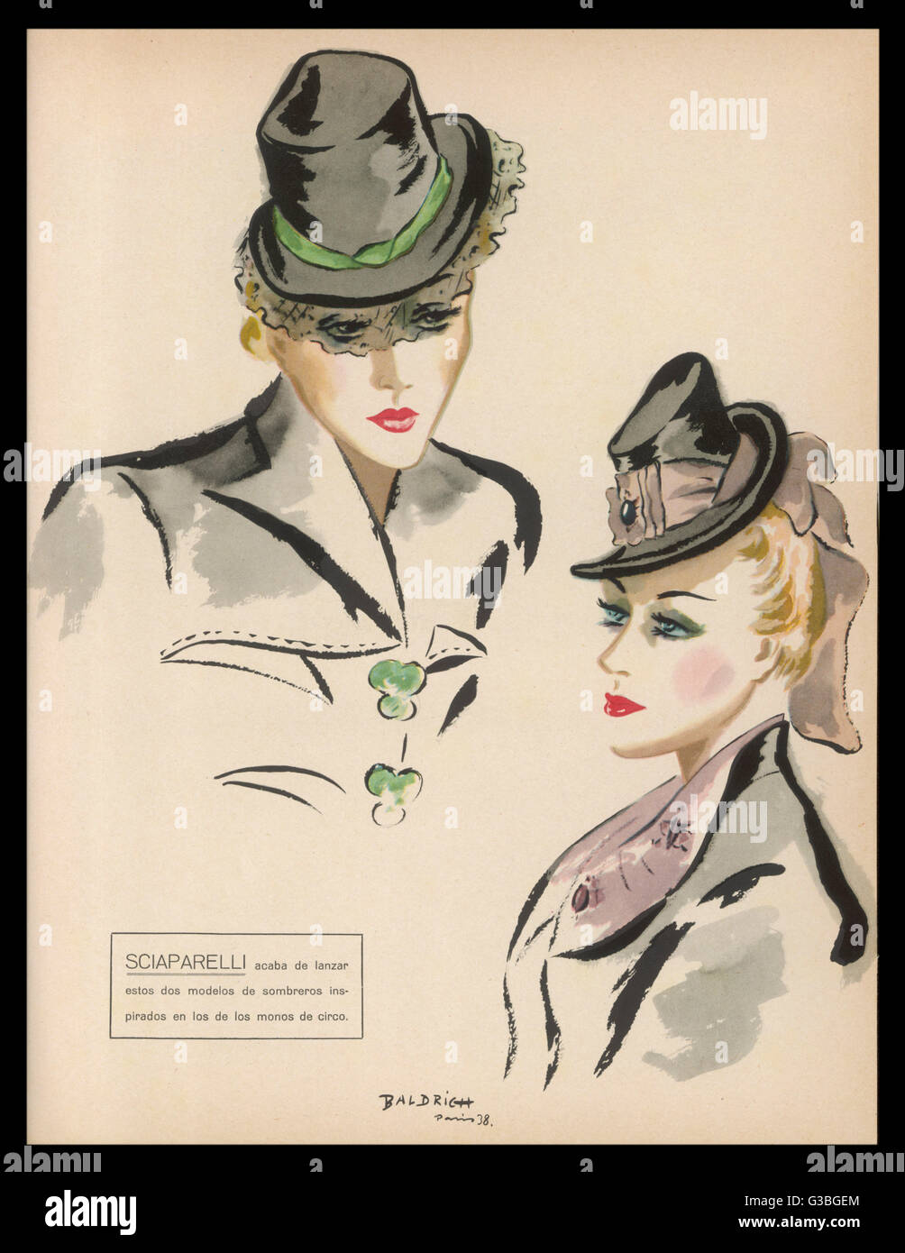 Two hat designs by the  eccentric and inventive  Elsa Schiaparelli  (Sciaparelli). One has a large  pink hat-band, - Stock Image