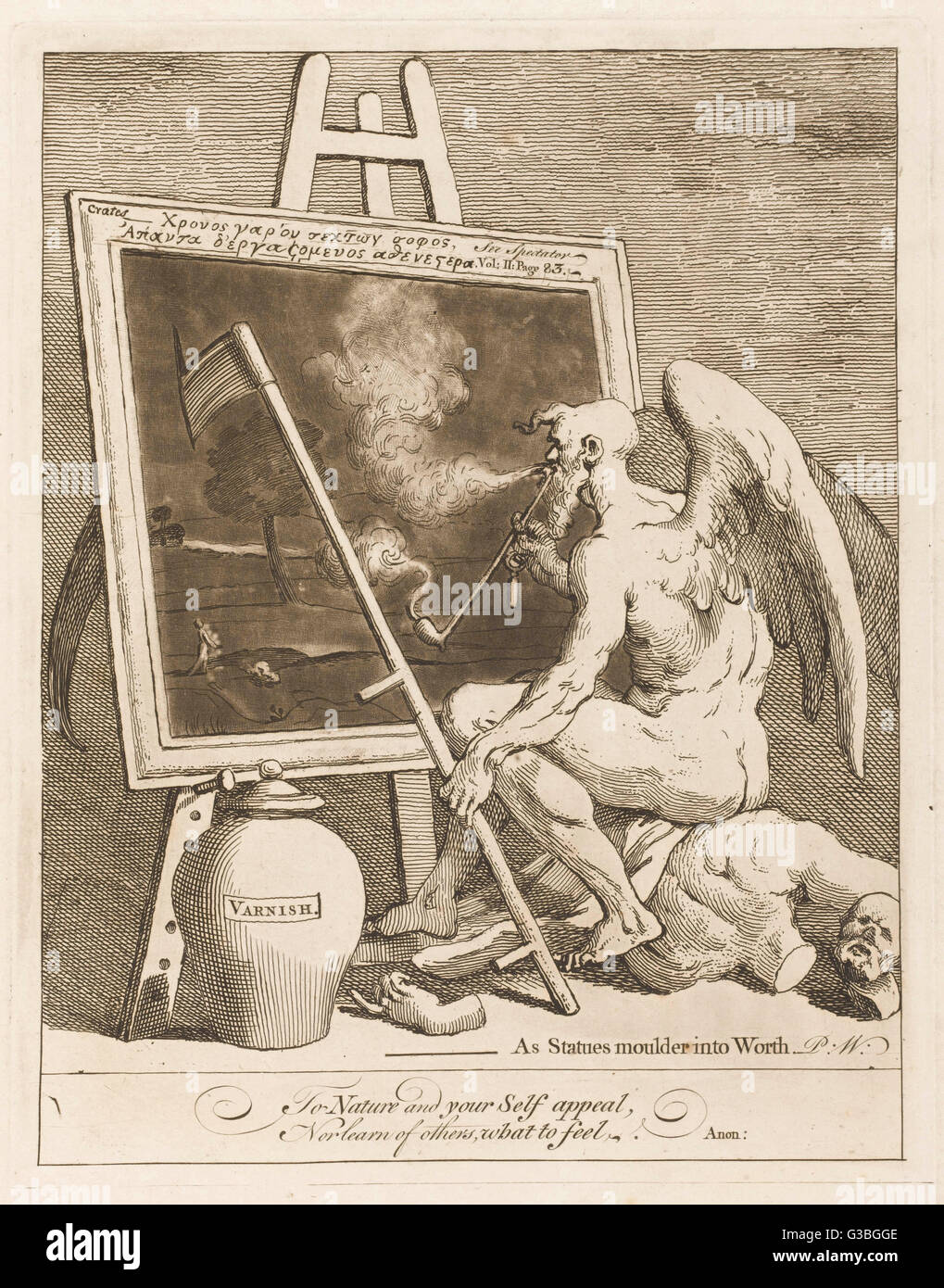 Father Time stares glumly into  a dark painting as his scythe  accidentally rips the canvas:  a satire on the contemporary - Stock Image