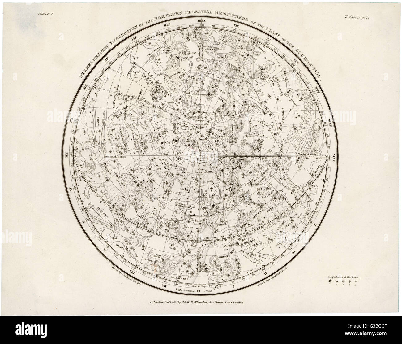 The Northern hemisphere,  including the signs of  the Zodiac.       Date: 1822 - Stock Image
