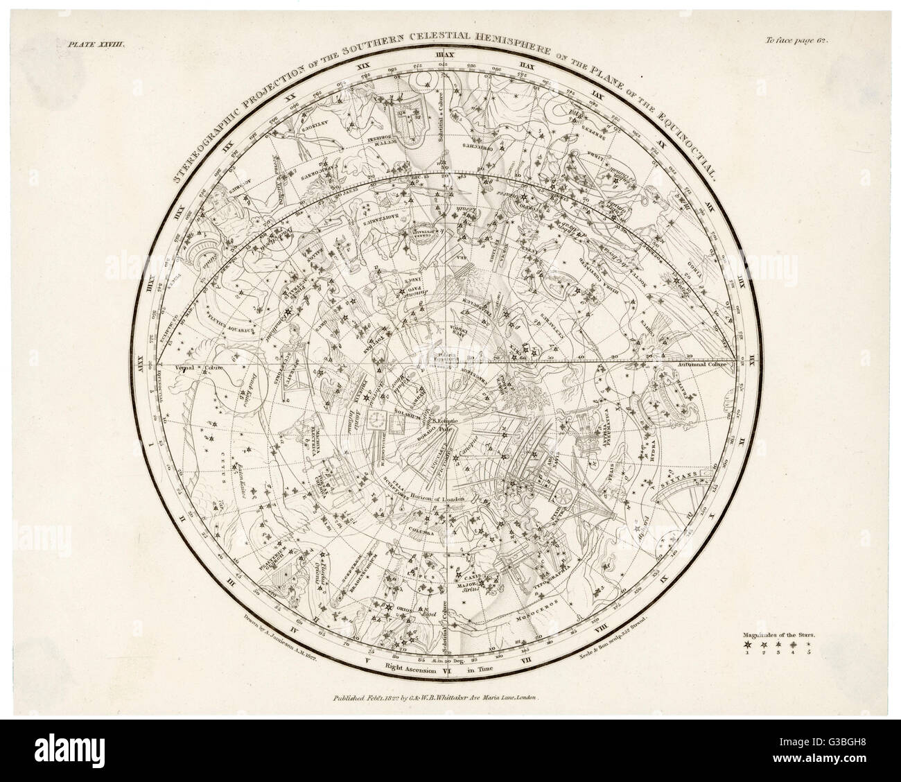 The Southern Hemisphere, with its Zodiac signs.        Date: 1822 - Stock Image