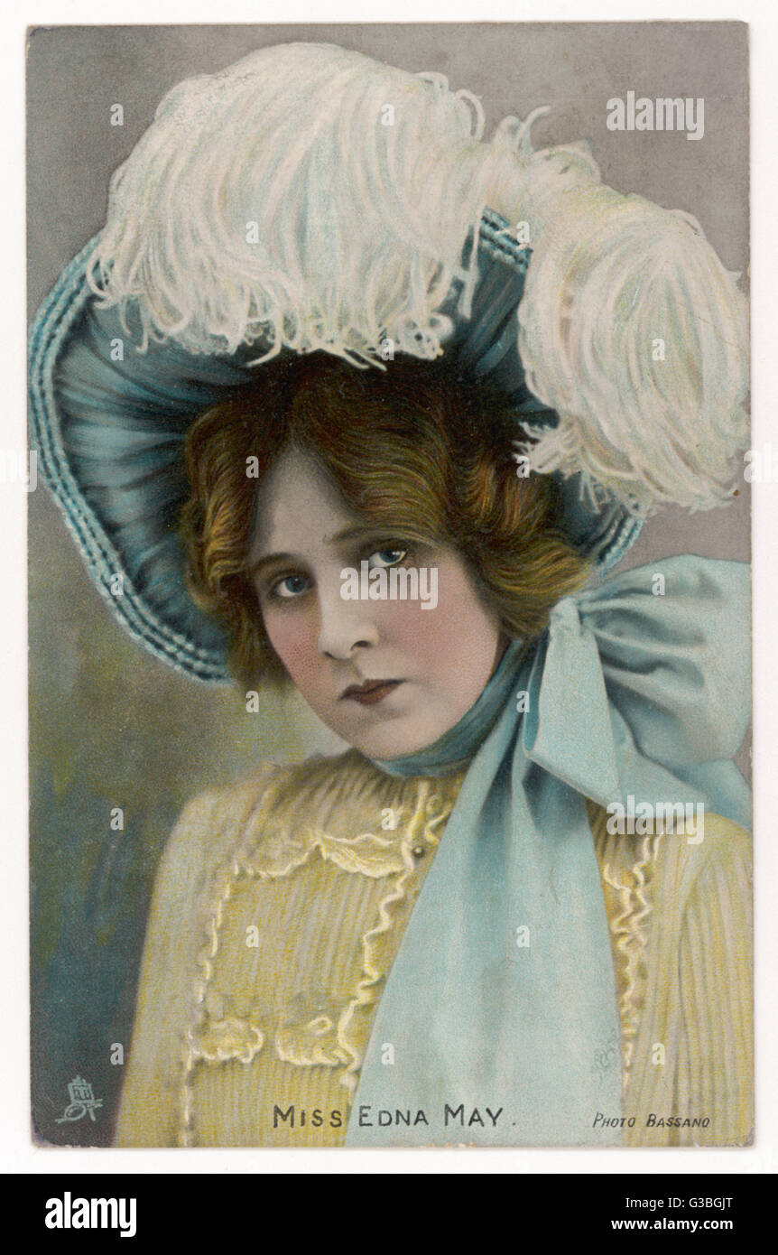 Edna May in a bonnet style hat tied with a large bow under the chin  amp   worn tilted upwards to reveal the underside of the brim. 3a16433ba5b