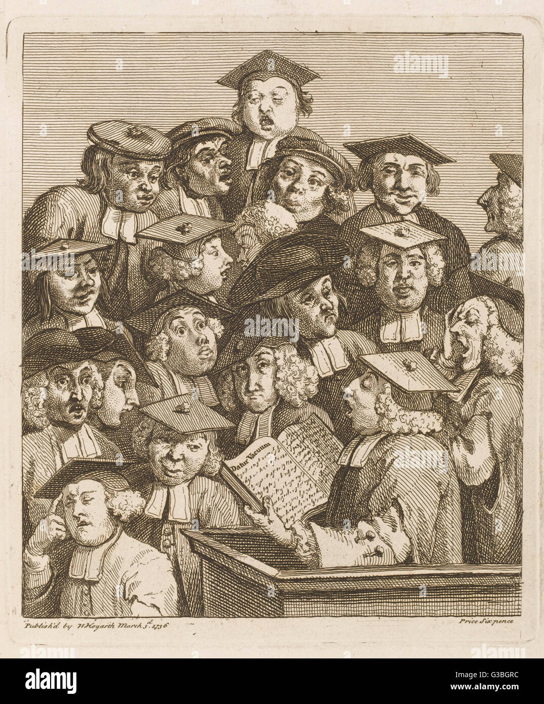 'Scholars at a lecture'  display various symptoms of  boredom.       Date: 1736 - Stock Image
