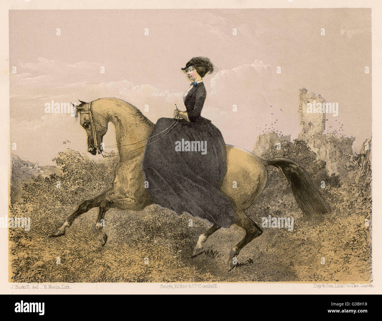 An accomplished equestrienne  demonstrates the canter.        Date: 1857 - Stock Image