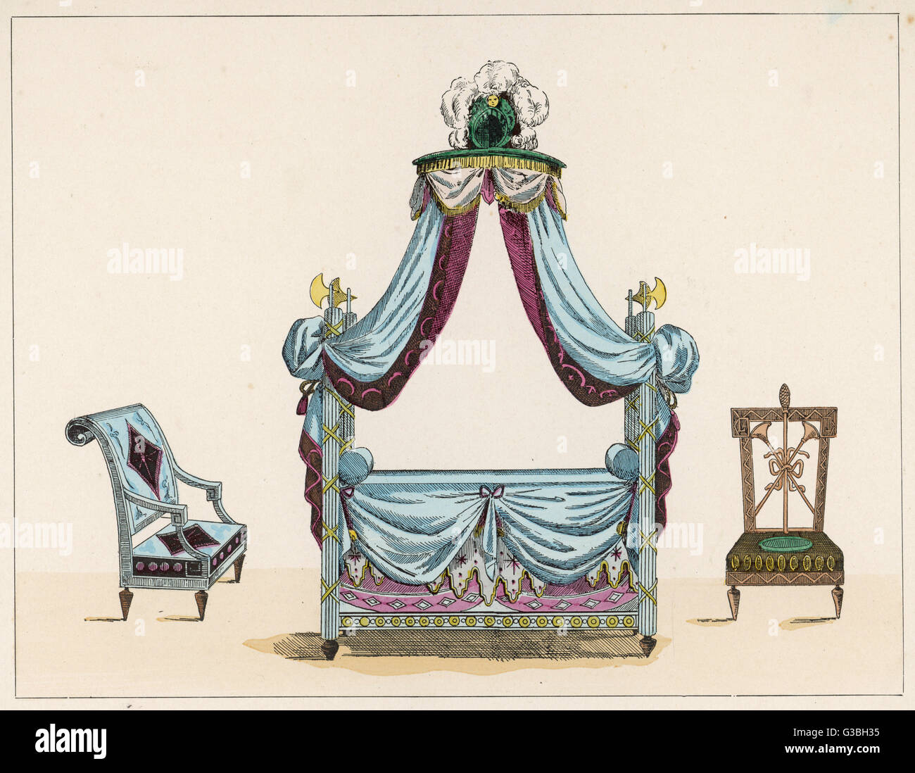 French four-poster bed in the  fashionable classical style,  with motifs from Rome to  emphasise the democratic - Stock Image