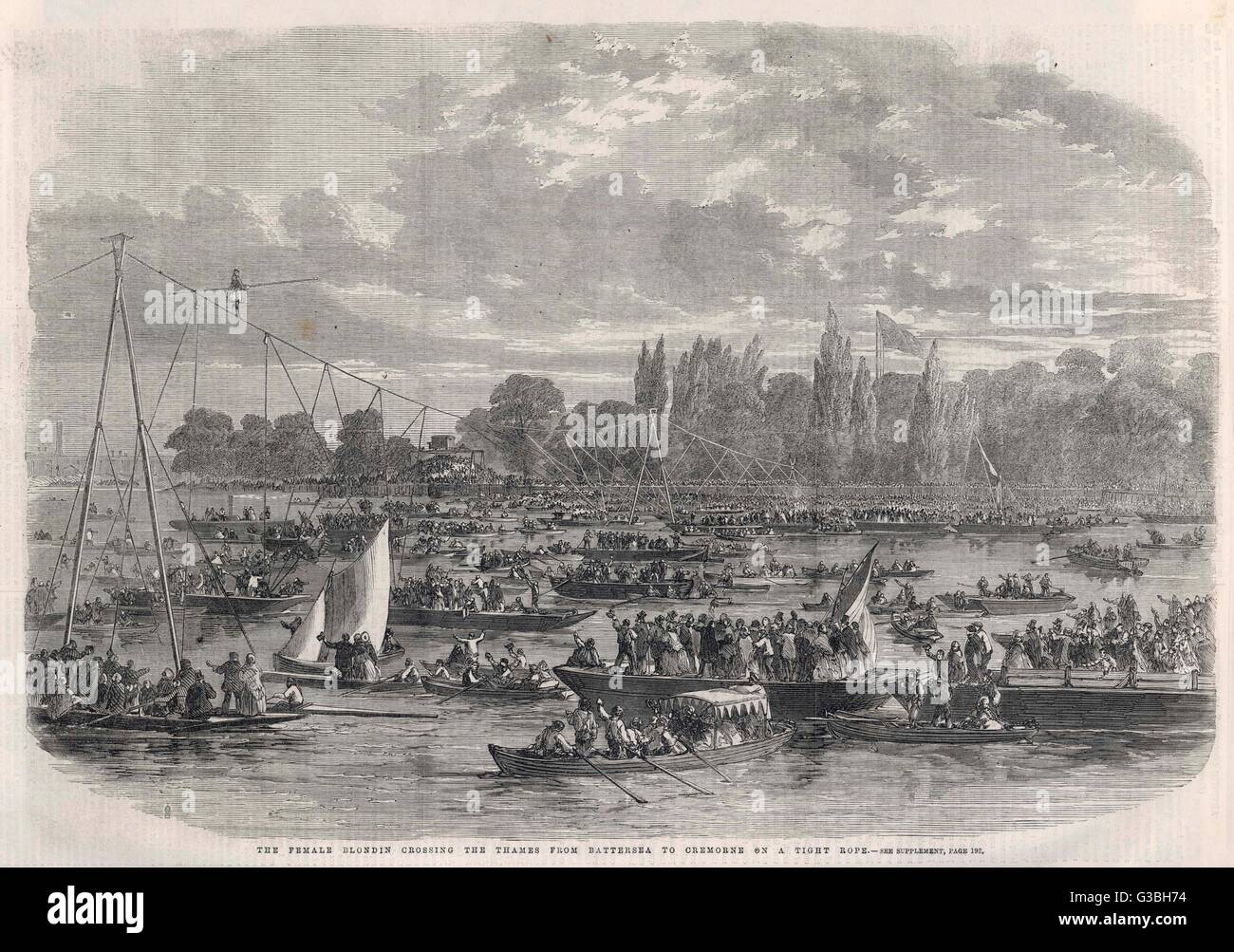 Madame Genevieve Young, the  'Female Blondin' crosses the  Thames between Battersea and  Cremorne       Date: 1861 Stock Photo