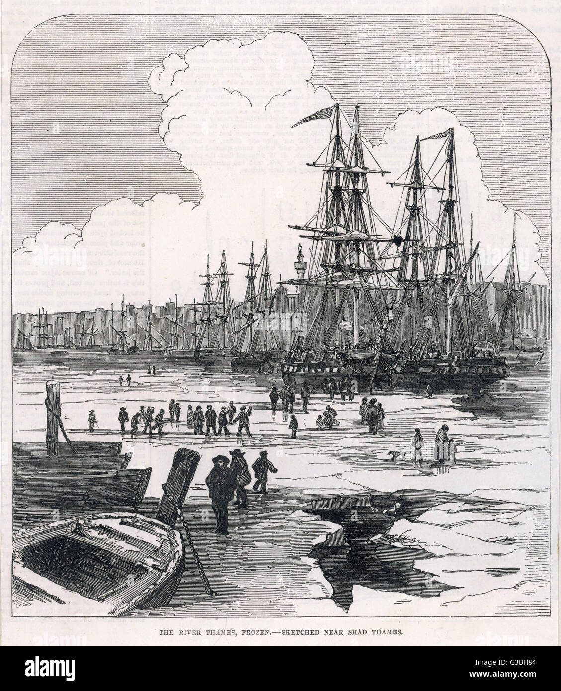 Sailing vessels locked in the  frozen river at Shad Thames.        Date: 1855 - Stock Image