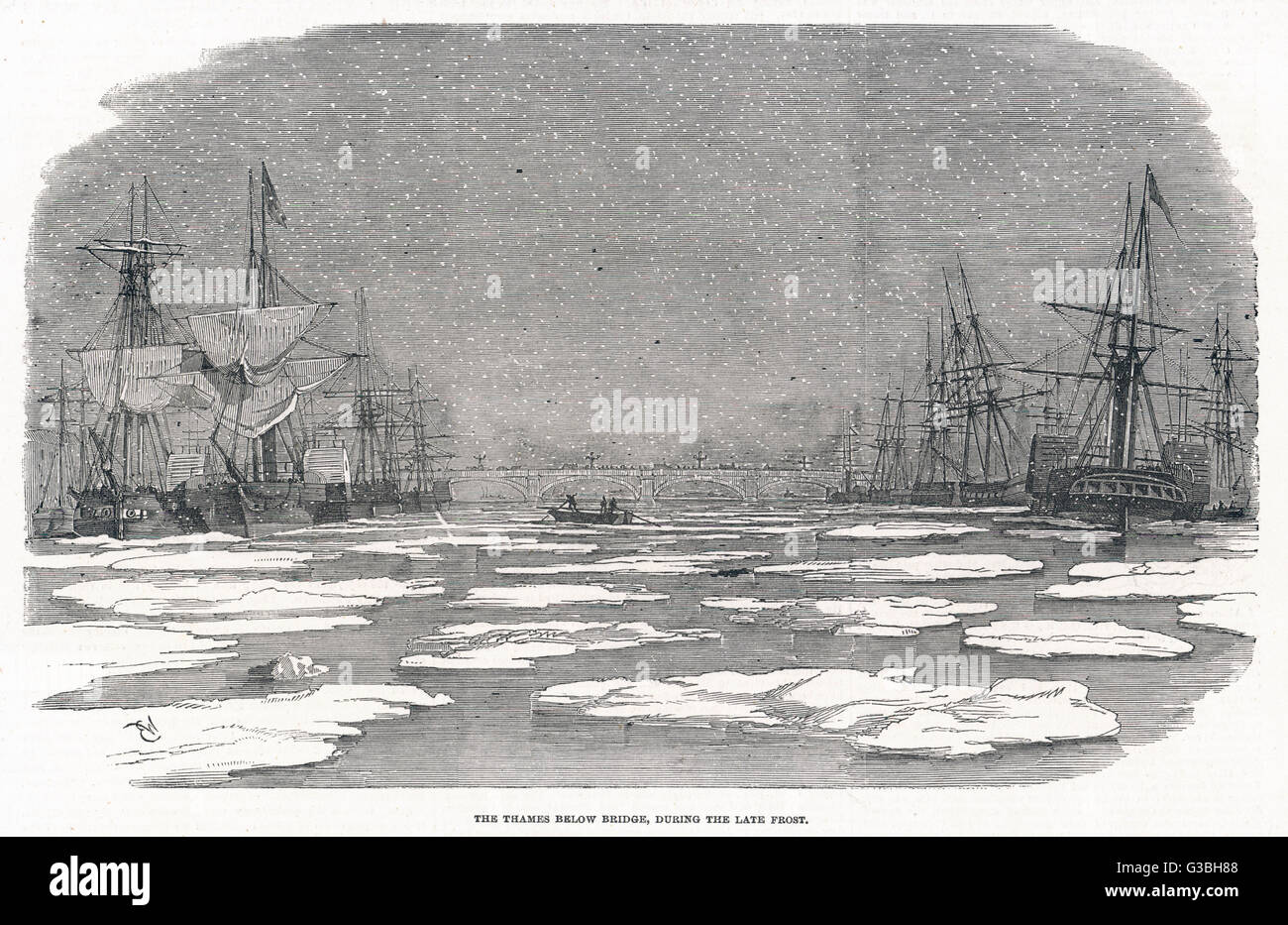 Though not completely frozen  over, the river below London  Bridge is strewn with ice- floes as though this was - Stock Image