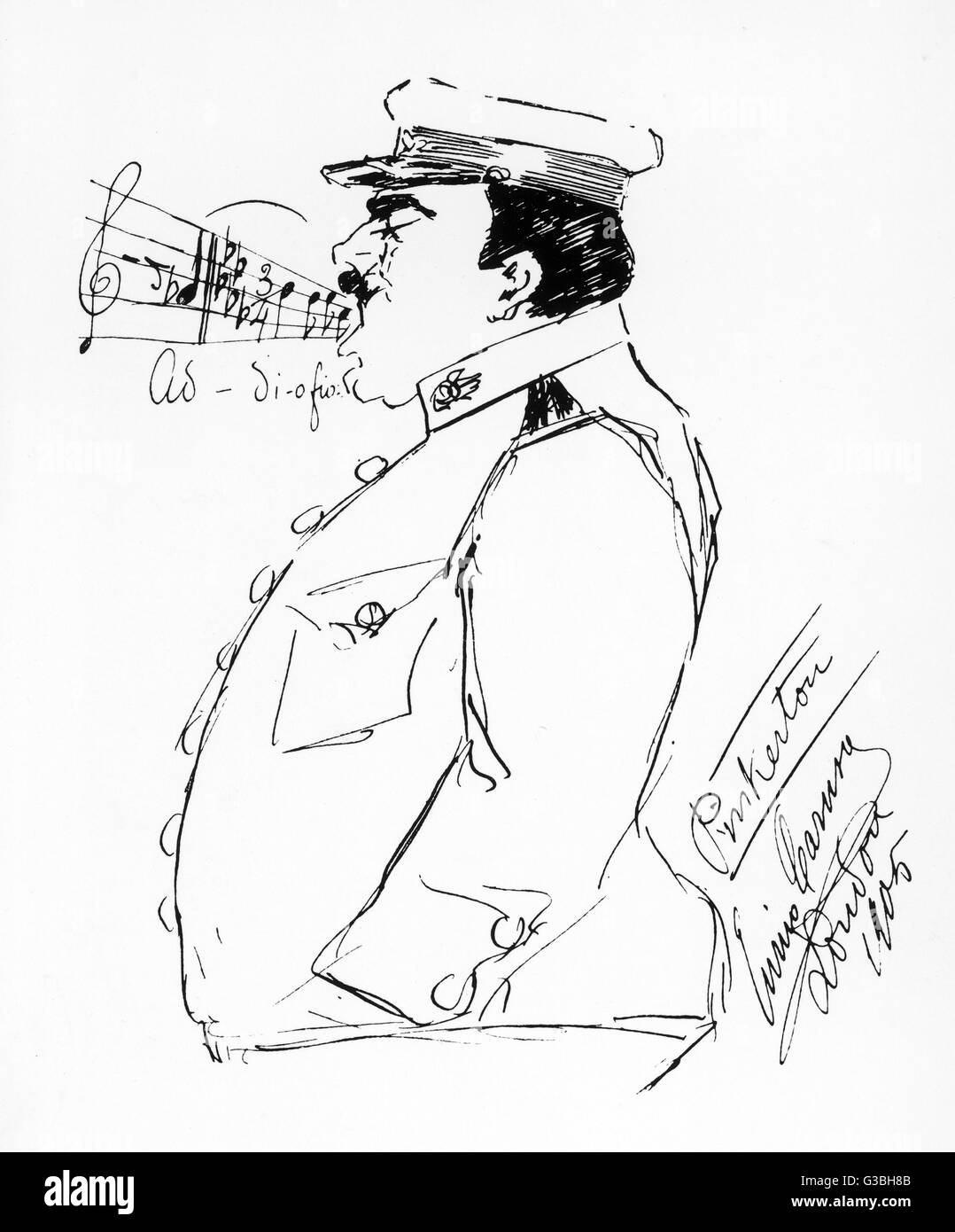 Signed self-caricature by the  opera singer Enrico Caruso :  Caruso as Lieutenant  Pinkerton. - Stock Image
