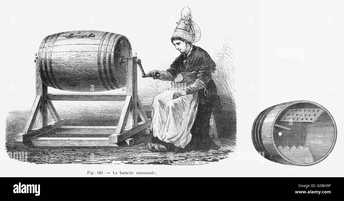 A Normandy Butter churn in  action and in cross-section,  showing the shaped interior  paddles for working the butter Stock Photo