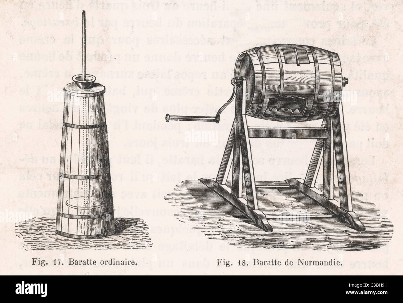 A traditonal butter churn  (left) and a barrel-type from  Normandy (right)        Date: 1878 Stock Photo