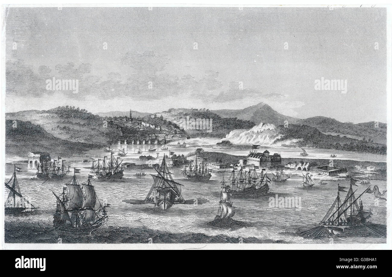 Sailing vessels and galleys in  the harbour, looking inland  from the sea.       Date: early 19th century - Stock Image