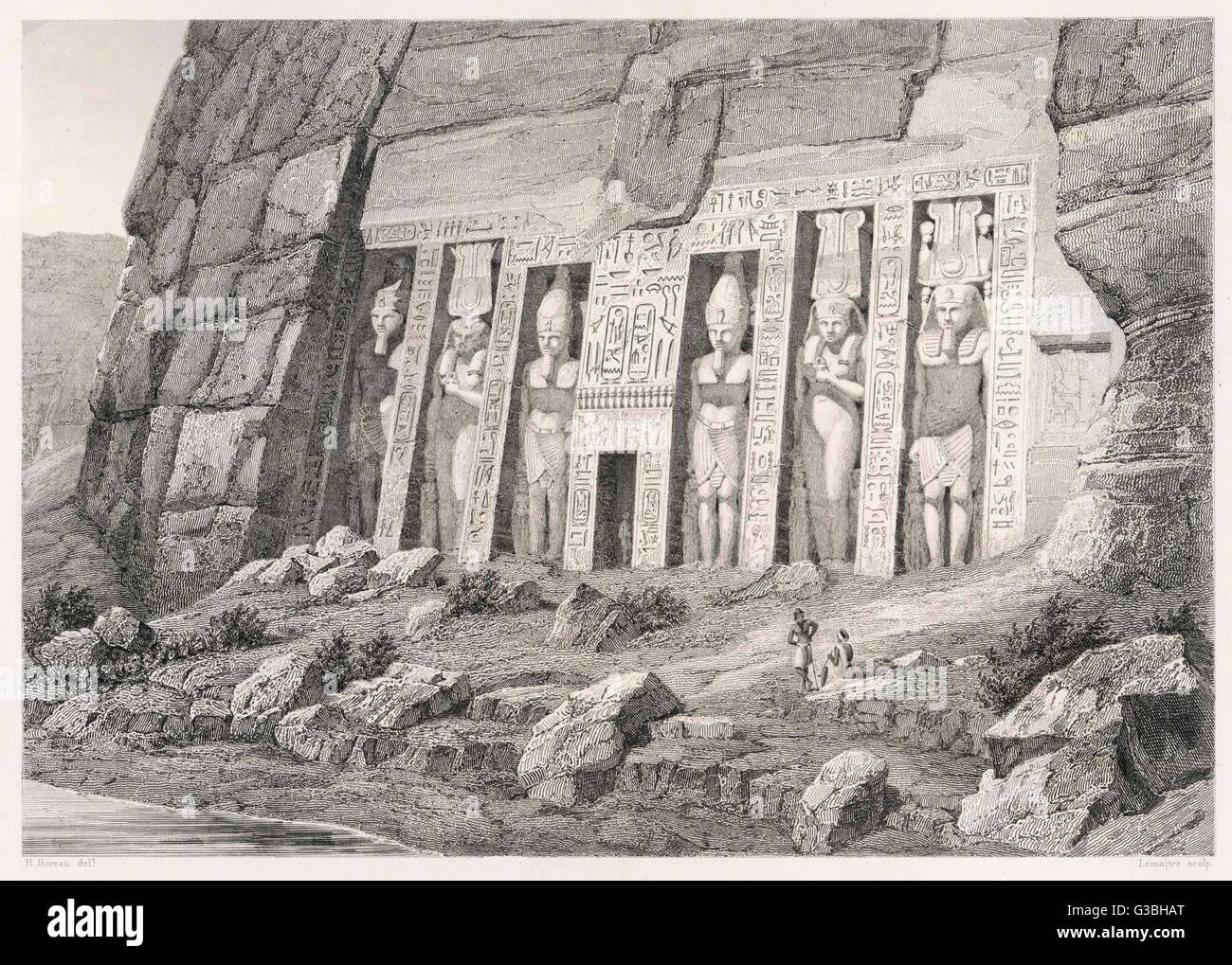 The colossal Speos of Athor,  some 20 metres high, is depicted here pretty much as  it was found by travellers  - Stock Image