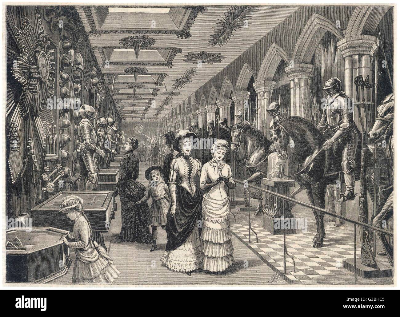 Sightseers in the Armoury.         Date: 1885 - Stock Image