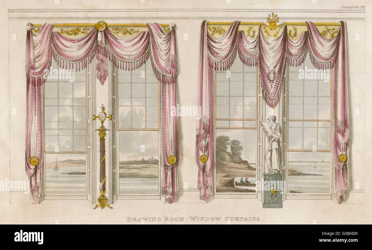 Drawing Room Window Curtains In The Classical Style With Heavy Stock Photo Alamy