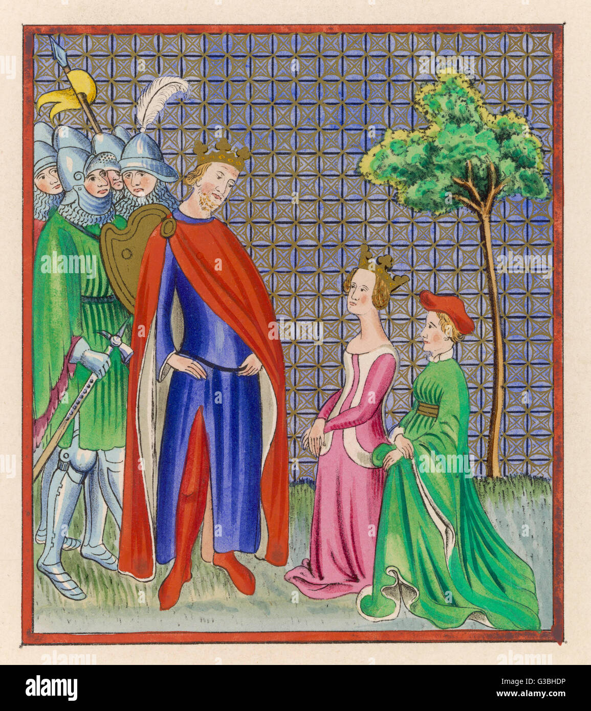 Esther is presented to the  Persian emperor Ahasuerus, who  makes her his queen although  she is Jewish.       Date: - Stock Image