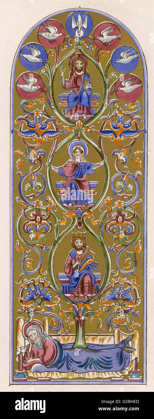 The principal figures in the  genealogy of Jesus - Abraham,  David and Mary.       Date: circa 1 - Stock Image