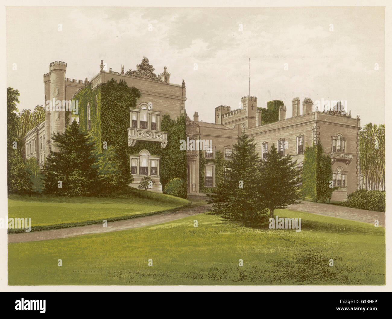 Aske Hall, Yorkshire, a notable stately home.        Date: 1879 - Stock Image