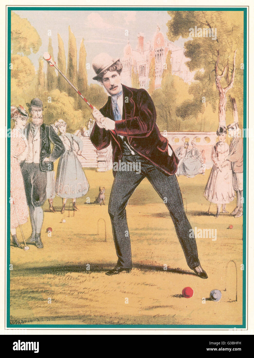 A redoubtable croquet-player  ponders a tricky shot -  how to get his own ball  through the hoop without  taking - Stock Image