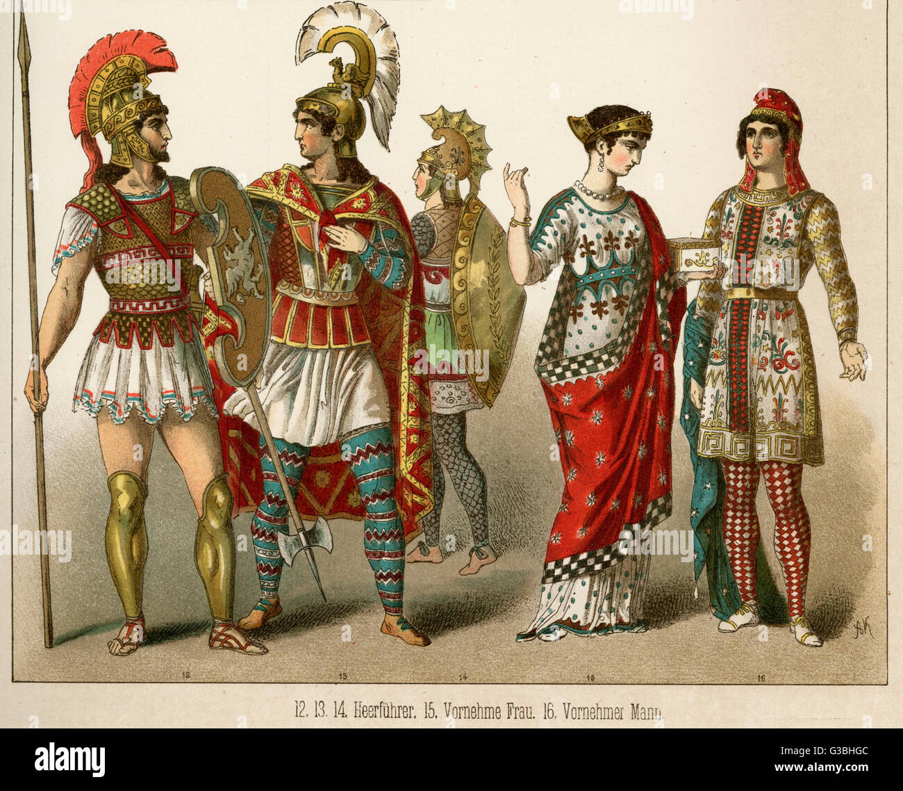 ANCIENT ASIA MINOR  Protective clothing and weaponry of Warriors and the elaborately patterned clothing of man and - Stock Image