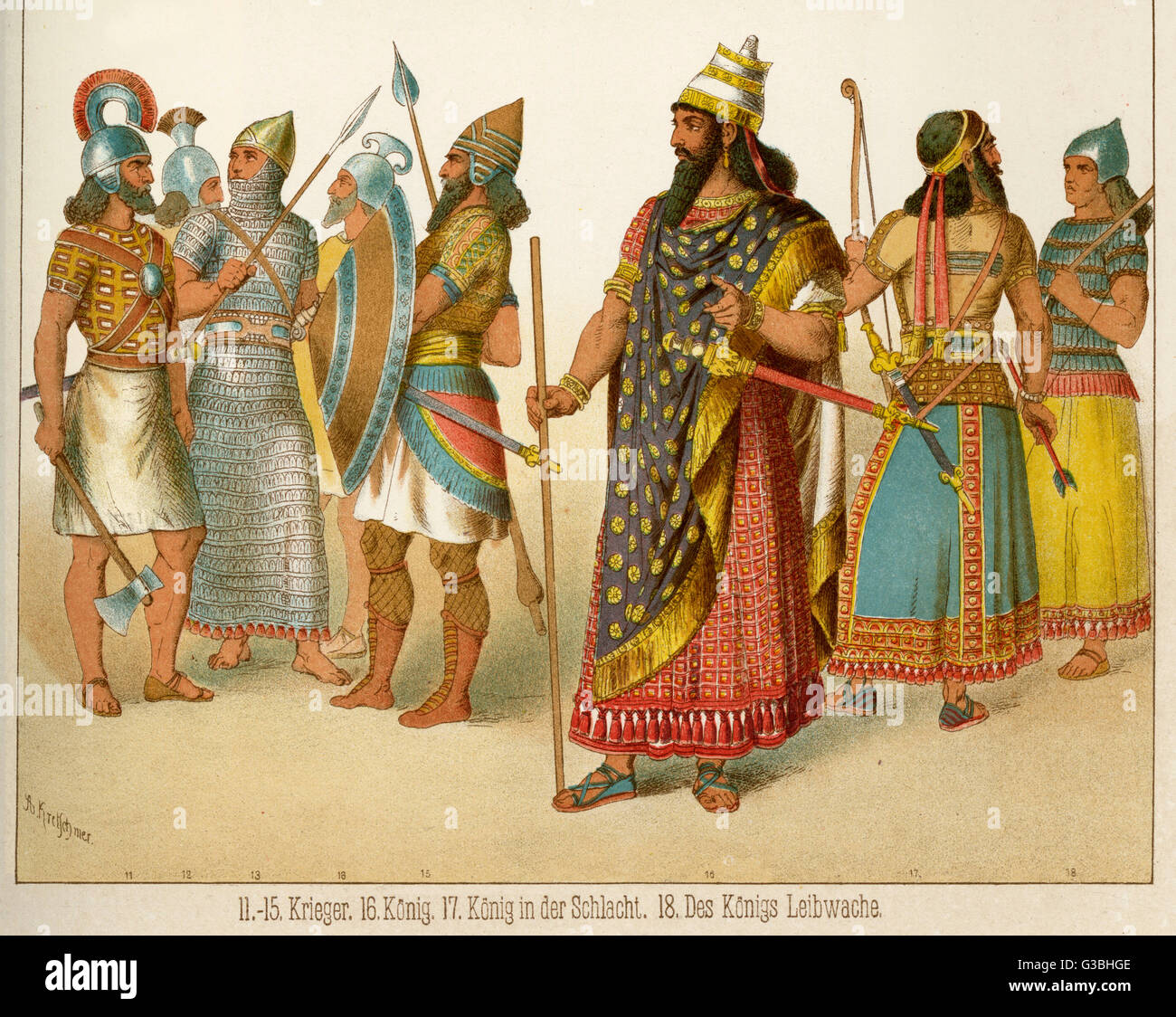 ANCIENT ASSYRIA Weaponry and armour of  Warriors, the King in his  court regalia and ready for  battle and the costume - Stock Image