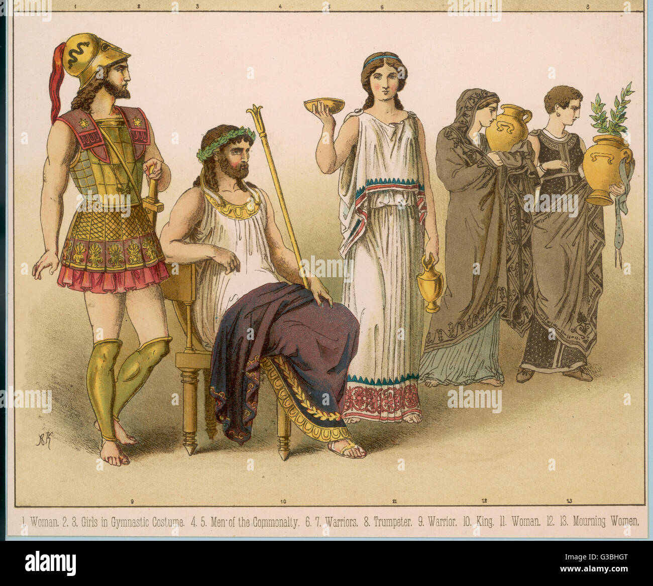 Various Ancient Greek  costumes; left to right - a warrior, a King, a woman and  two mourning women.       Date: - Stock Image