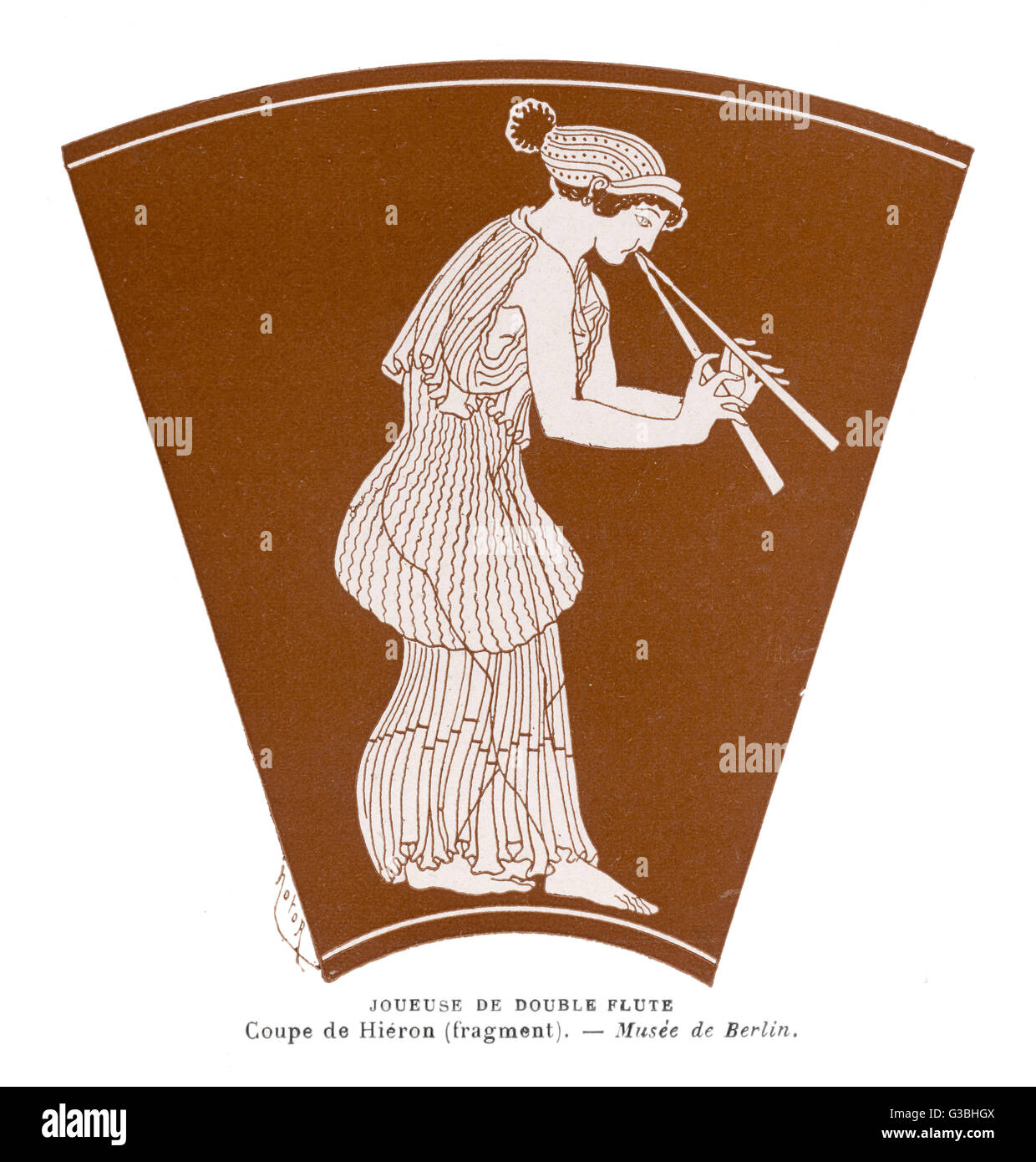 ANCIENT GREECE: a musician in a finely pleated  chiton which appears to be of  a very sheer, translucent cloth  - Stock Image