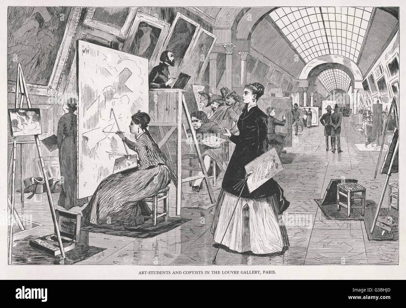 Art students and copyists  learn the techniques of  the masters by trying to  reproduce them.      Date: 1868 - Stock Image