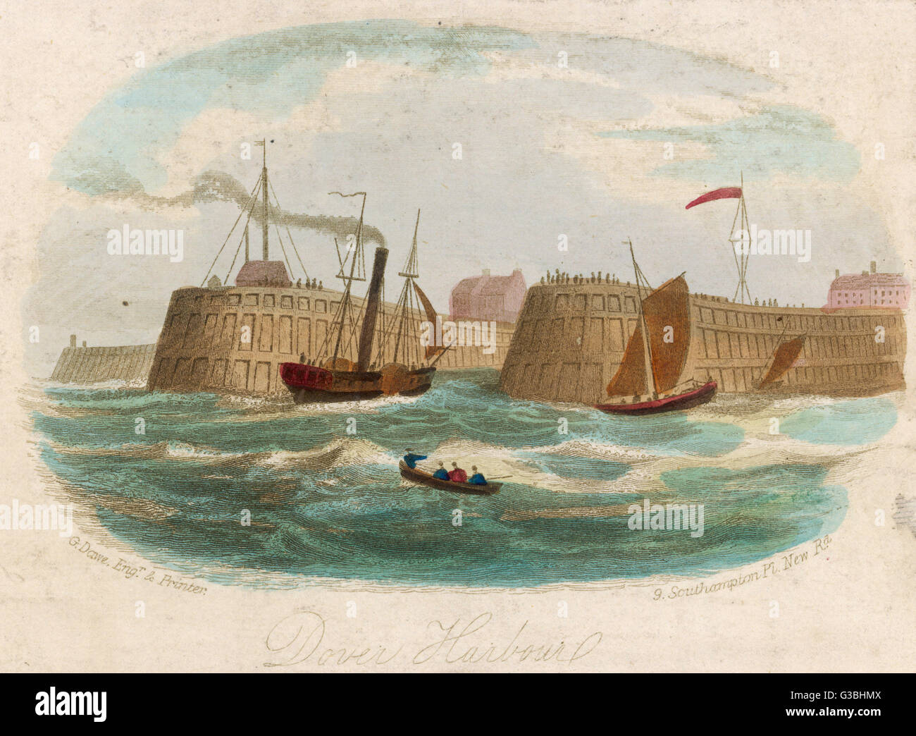 A steam packet (with sail)  enters Dover harbour.        Date: circa 1850 - Stock Image