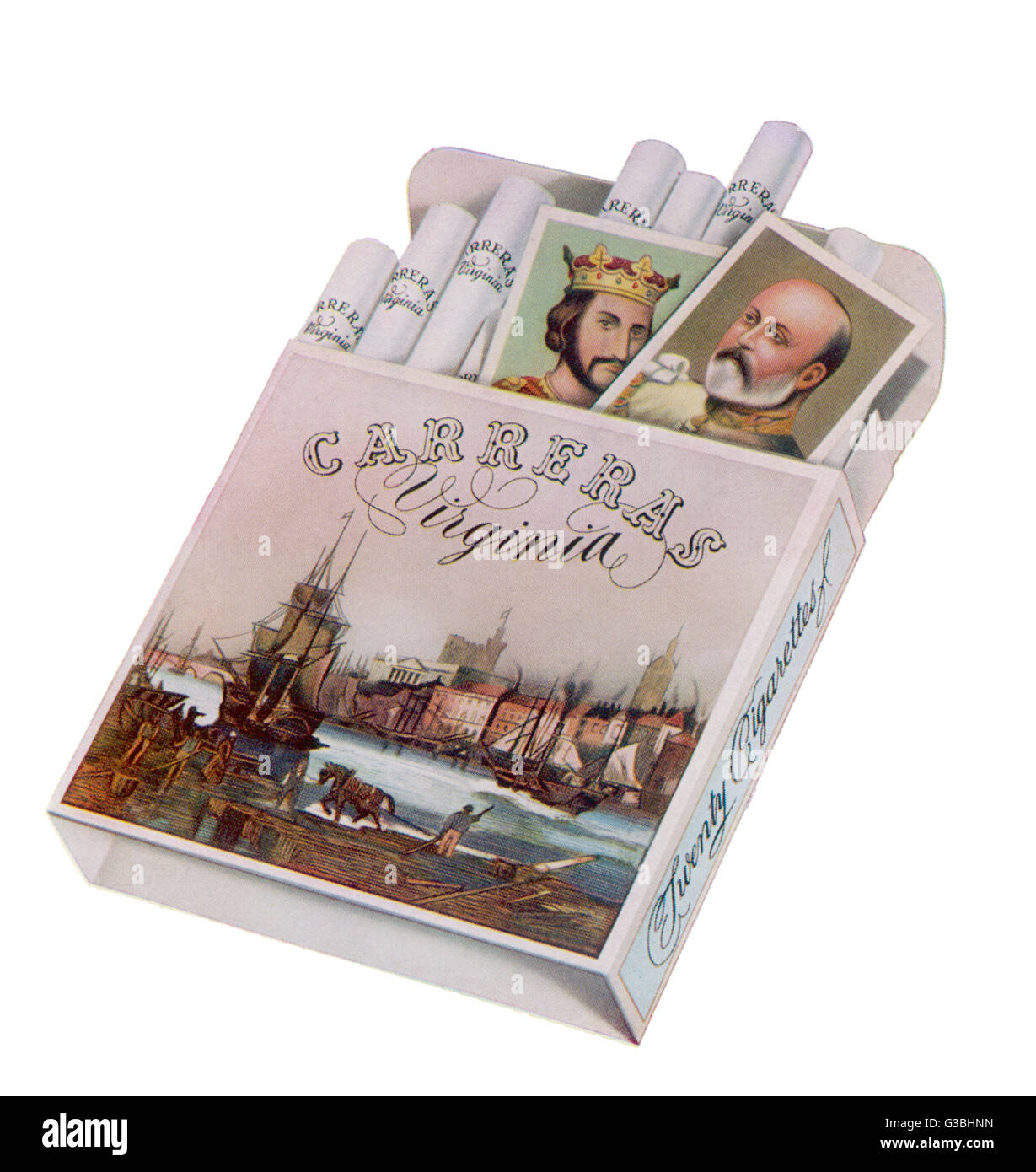 Carreras Virginia cigarettes -  the packet contains  cigarette cards       Date: 1935 - Stock Image