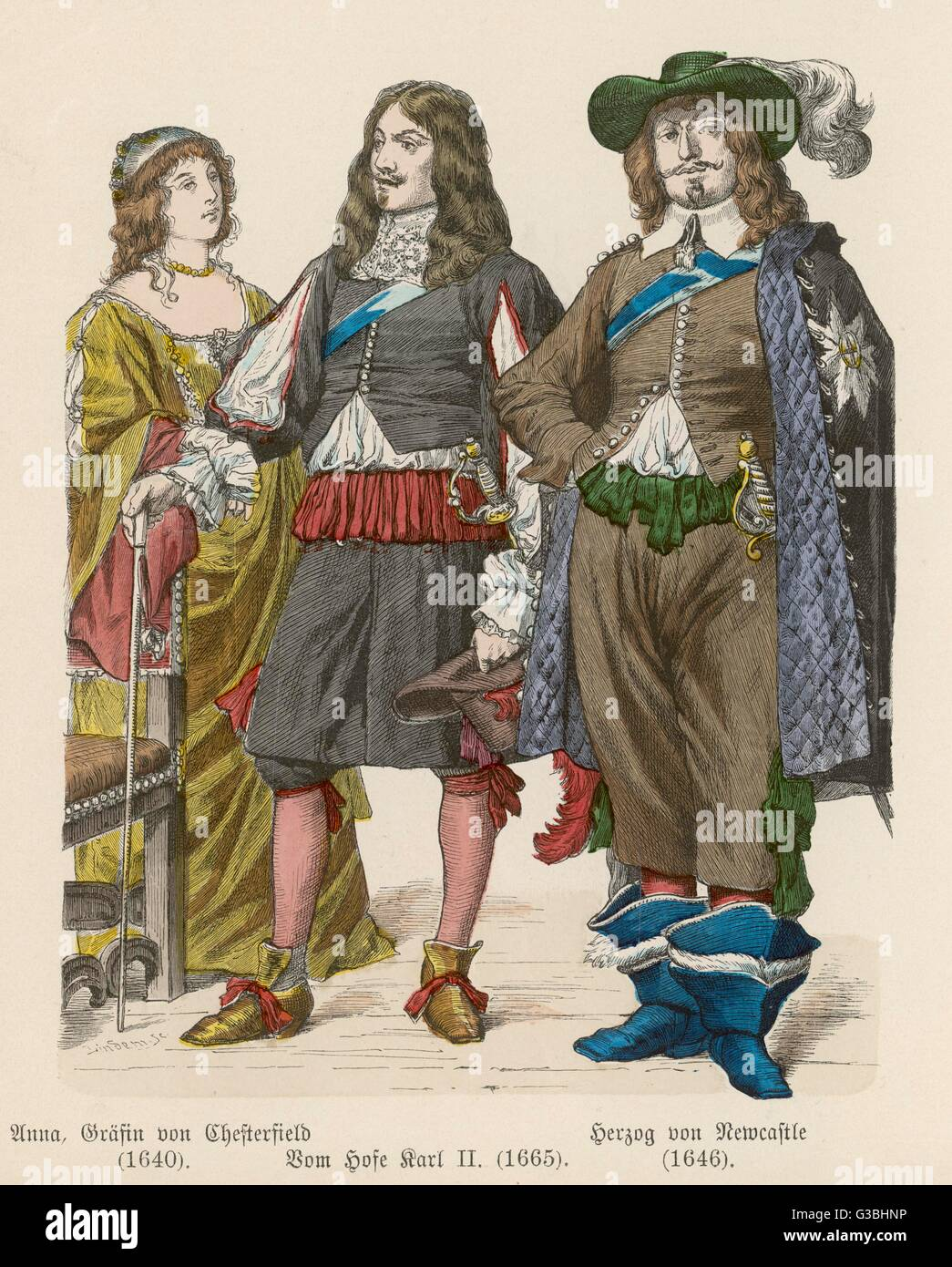 Duke of Newcastle: breeches  trimmed with ribbon loops,  bucket-top boots & cloak.  Charles II: petticoat - Stock Image
