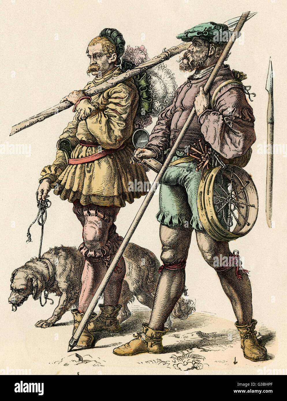Clothing worn by German  hunters. Many of the garments,  doublets, hose, even caps, are  paned - a form of decorative - Stock Image