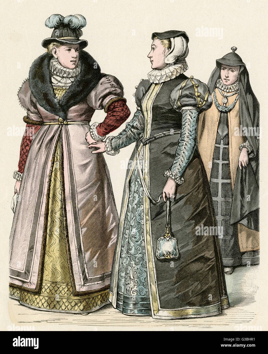 Mid century English costume:  richly embroidered dresses &  gowns with short, padded  sleeves which allow - Stock Image